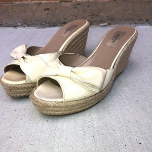 Valentino Espadrille Wedges Patent Ivory Leather